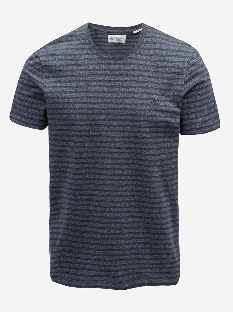Tmavě modré žíhané tričko s pruhy Original Penguin Allover Jacquard