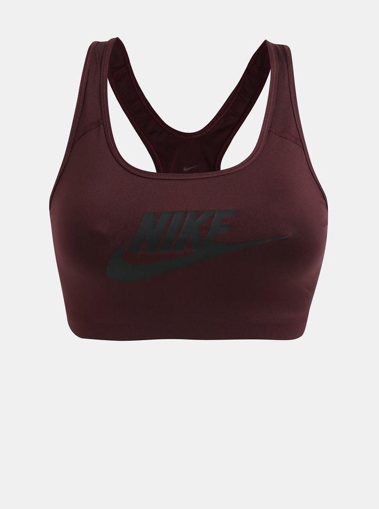 Vínová sportovní podprsenka s potiskem Nike Swoosh
