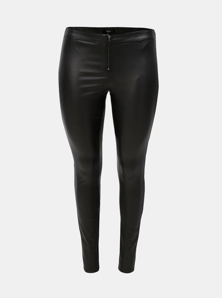 Pantaloni negri cu aspect lucios si fermoar Zizzi Autimn