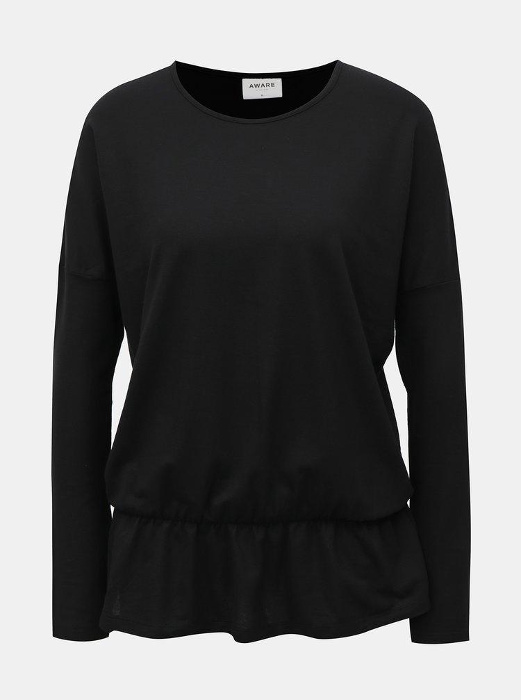 Bluza neagra cu volan AWARE by VERO MODA Everlast