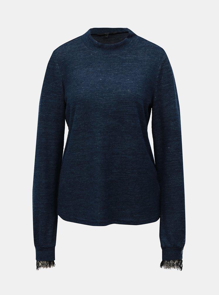Modrý žíhaný svetr s krajkou a stojáčkem VERO MODA Penny