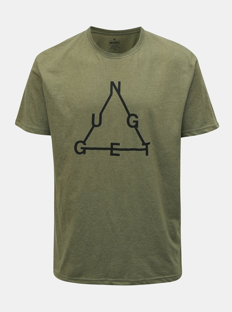 Khaki pánské žíhané tričko NUGGET