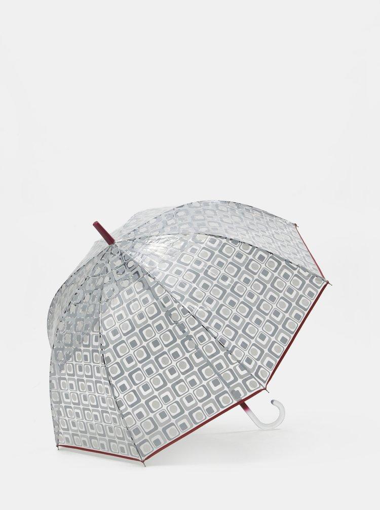 Transparentní vystřelovací deštník s červeným lemem Rainy Seasons