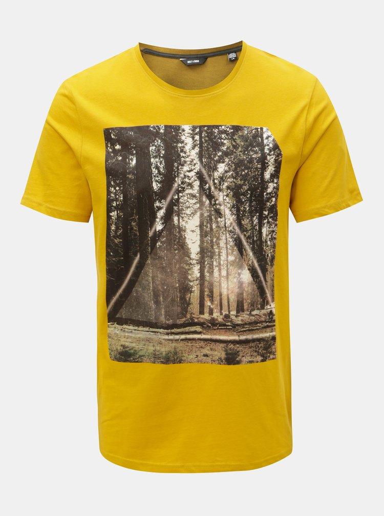 Žluté tričko s potiskem ONLY & SONS Gideon
