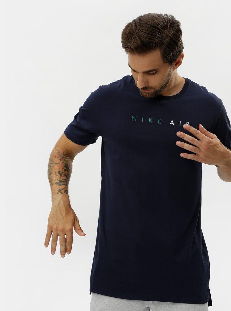 Tricou barbatesc albastru inchis cu maneci scurte si print Nike