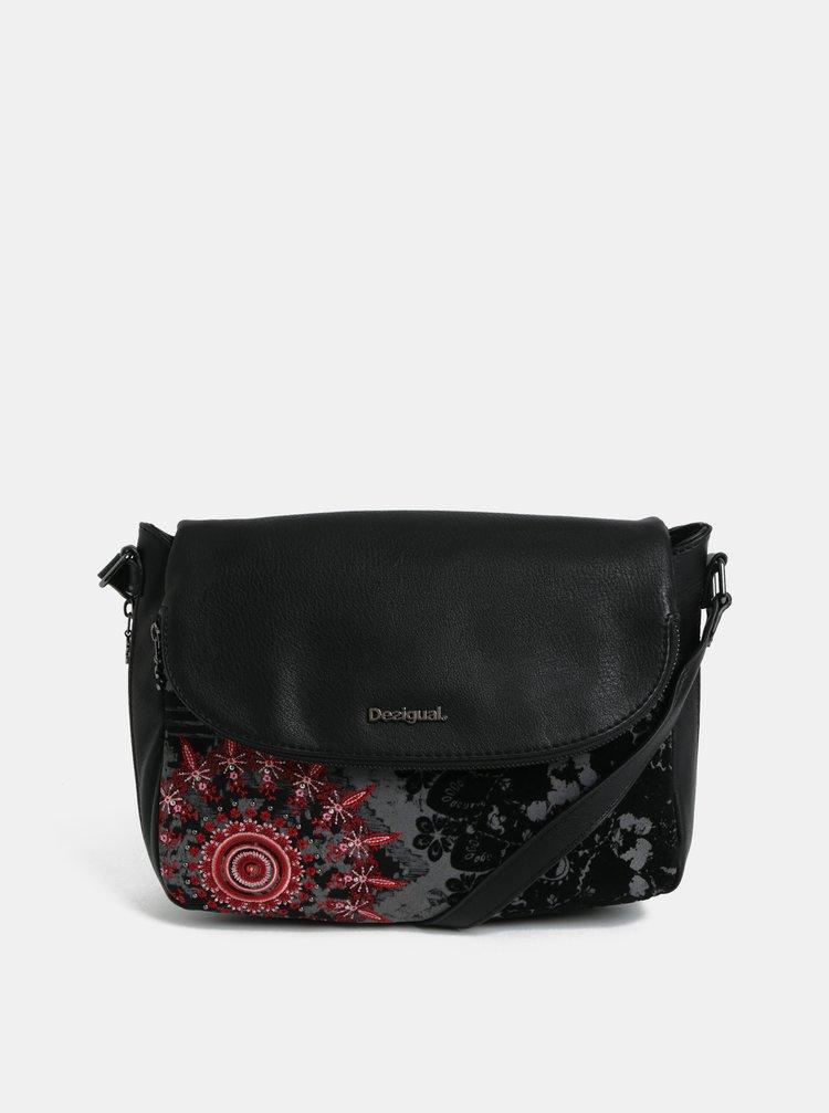 Čierna crossbody kabelka s výšivkou Desigual Queen