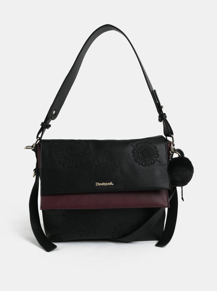 Fialovo-černá kabelka s výšivkou Desigual Aleida