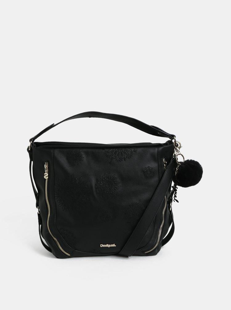 Černá koženková kabelka s výšivkou Desigual Bols