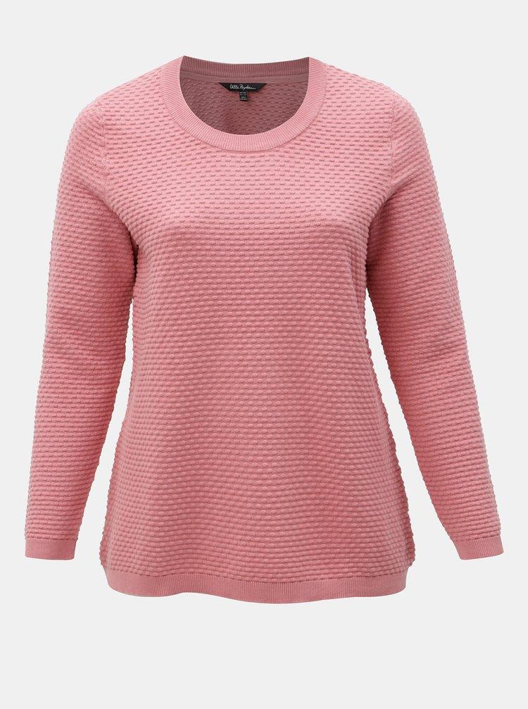 Růžový strukturovaný basic svetr Ulla Popken