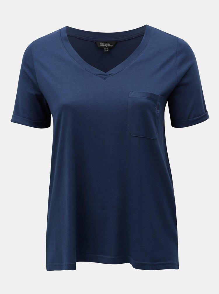 Tmavě modré basic tričko s náprsní kapsou Ulla Popken