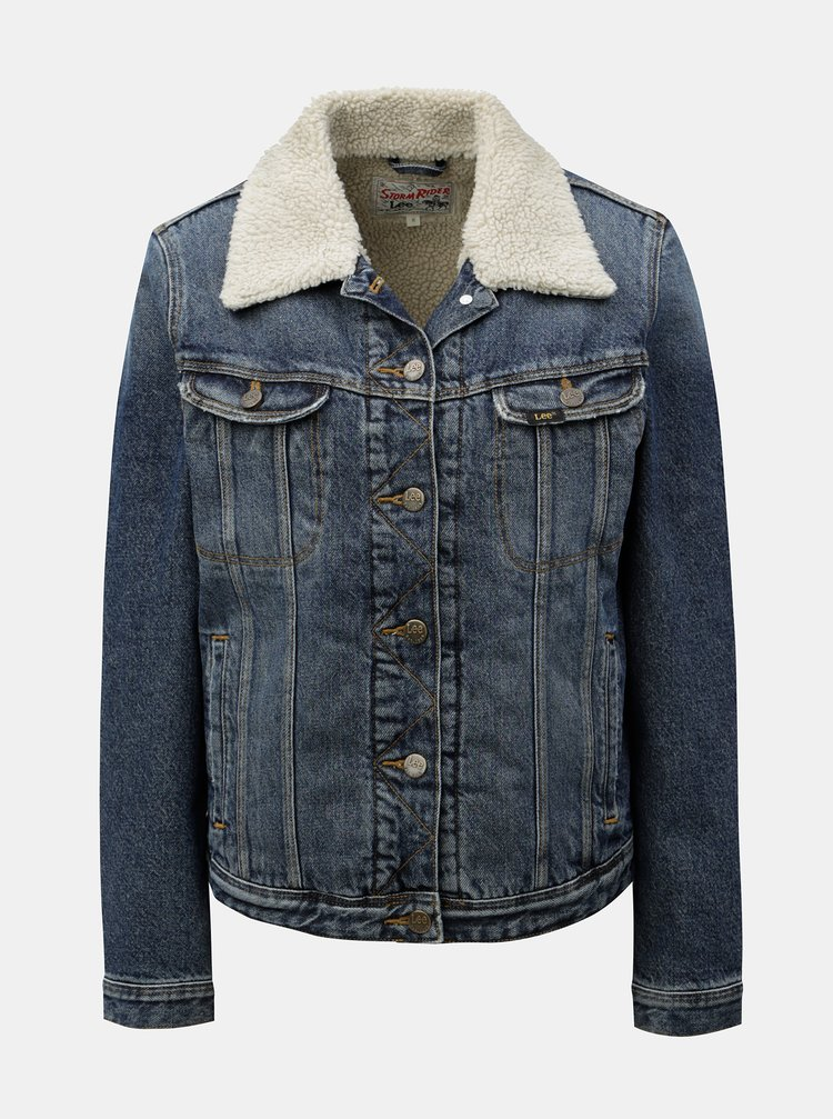 Modrá dámská džínová bunda s umělou kožešinou Lee