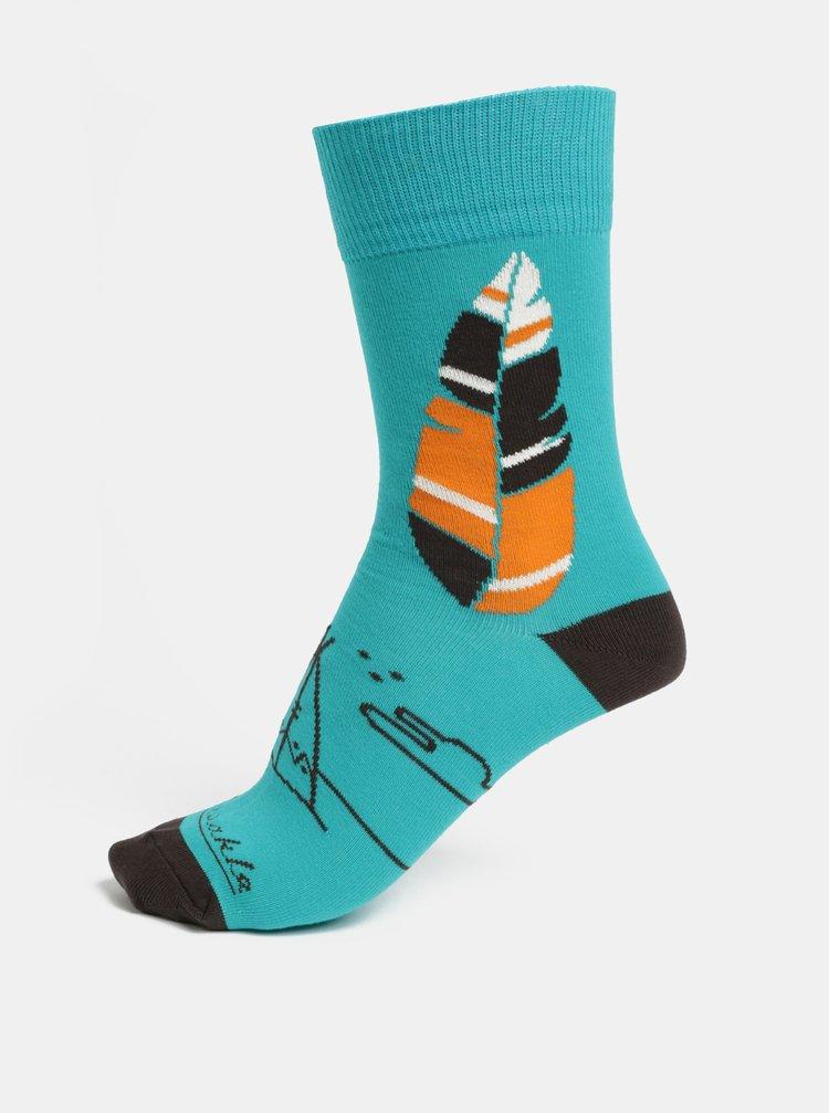 Tyrkysové unisex ponožky Fusakle Apač