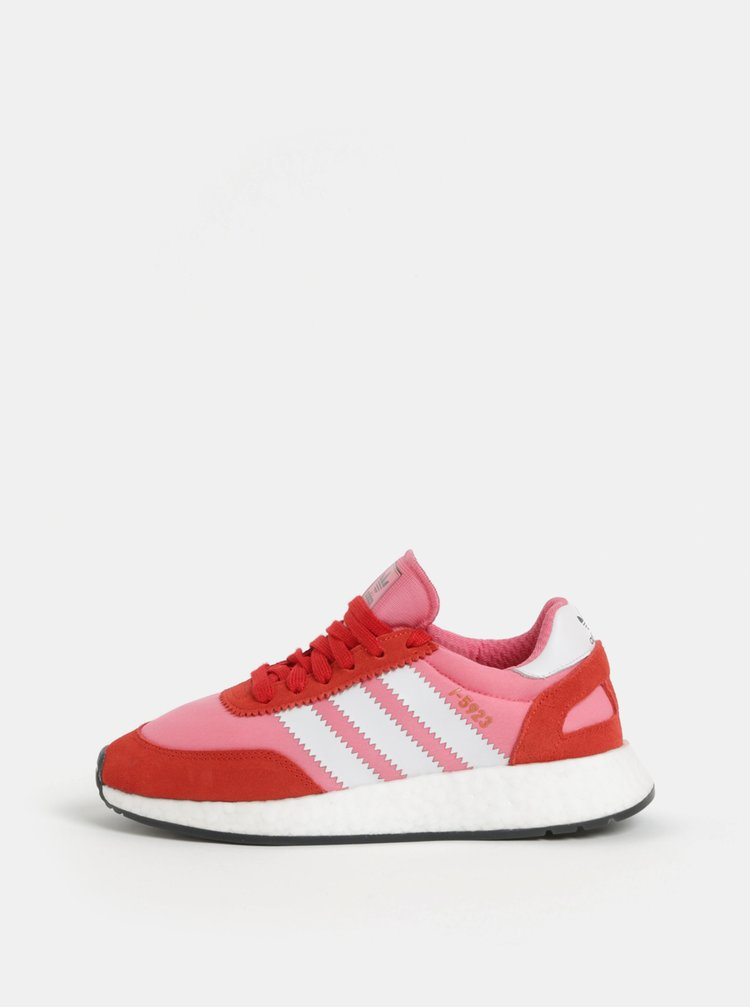 Červeno-růžové dámské tenisky se semišovými detaily adidas Originals Iniki Runner