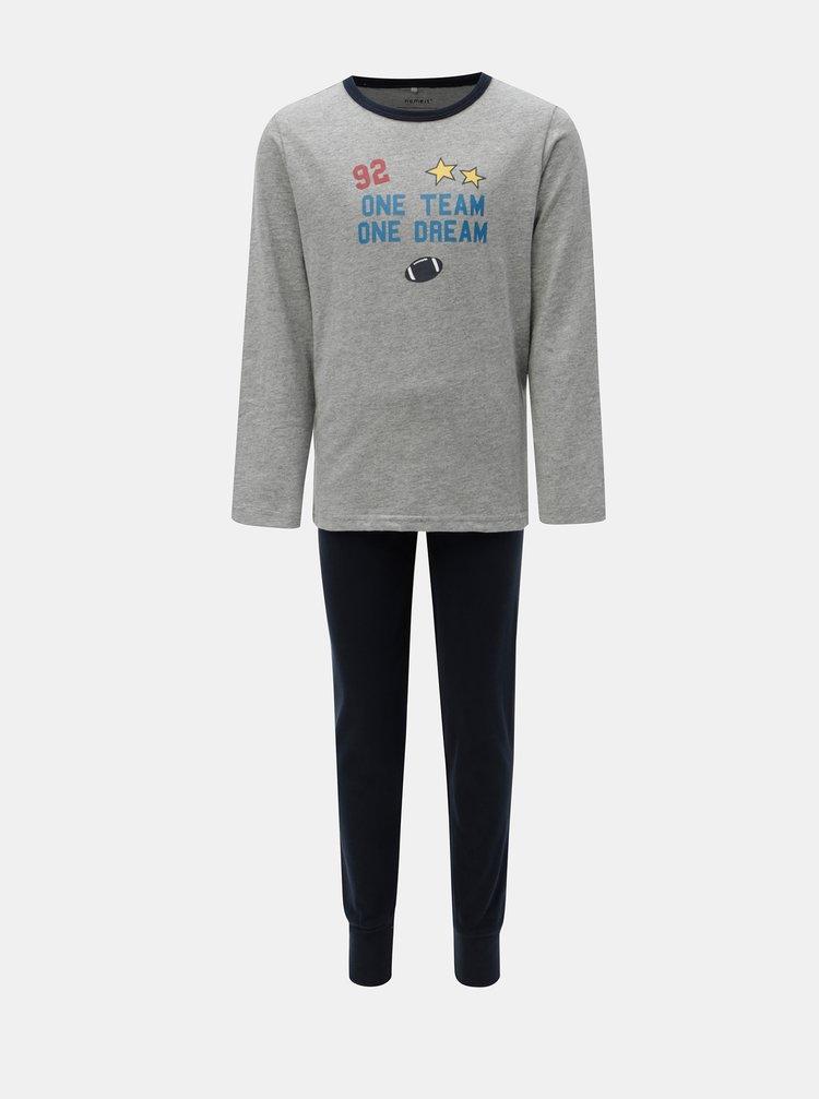 Modro–sivé chlapčenské dvojdielne pyžamo Name it