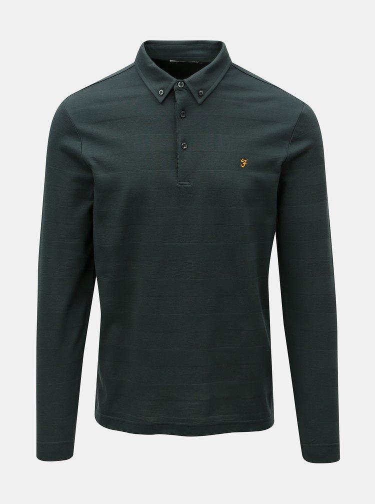 Tmavě zelené pruhované polo tričko s dlouhým rukávem Farah Stapleton