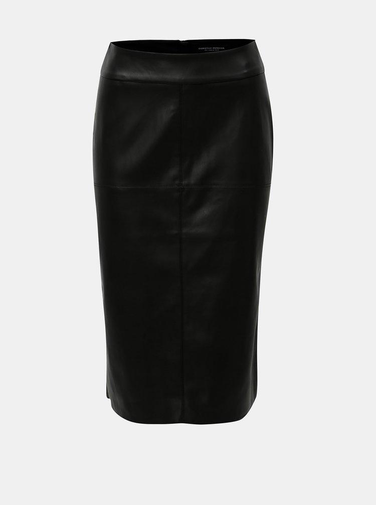 Černá koženková sukně s rozparkem v zadní části Dorothy Perkins