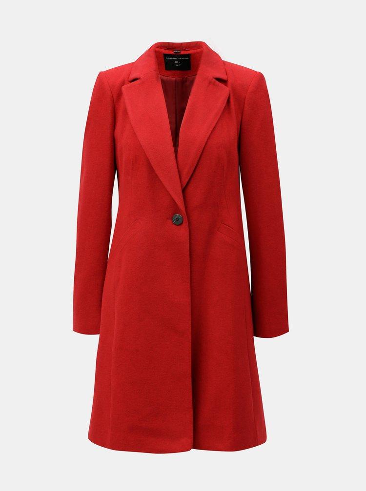 Červený kabát se zapínáním na knoflík Dorothy Perkins