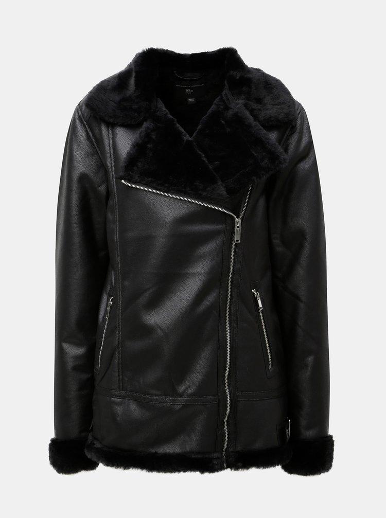 ... Čierna koženková bunda s kožušinkou Dorothy Perkins Tall 271ff329563