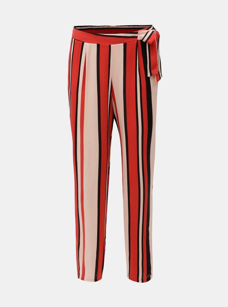 Růžovo-červené pruhované kalhoty s vysokým pasem Dorothy Perkins