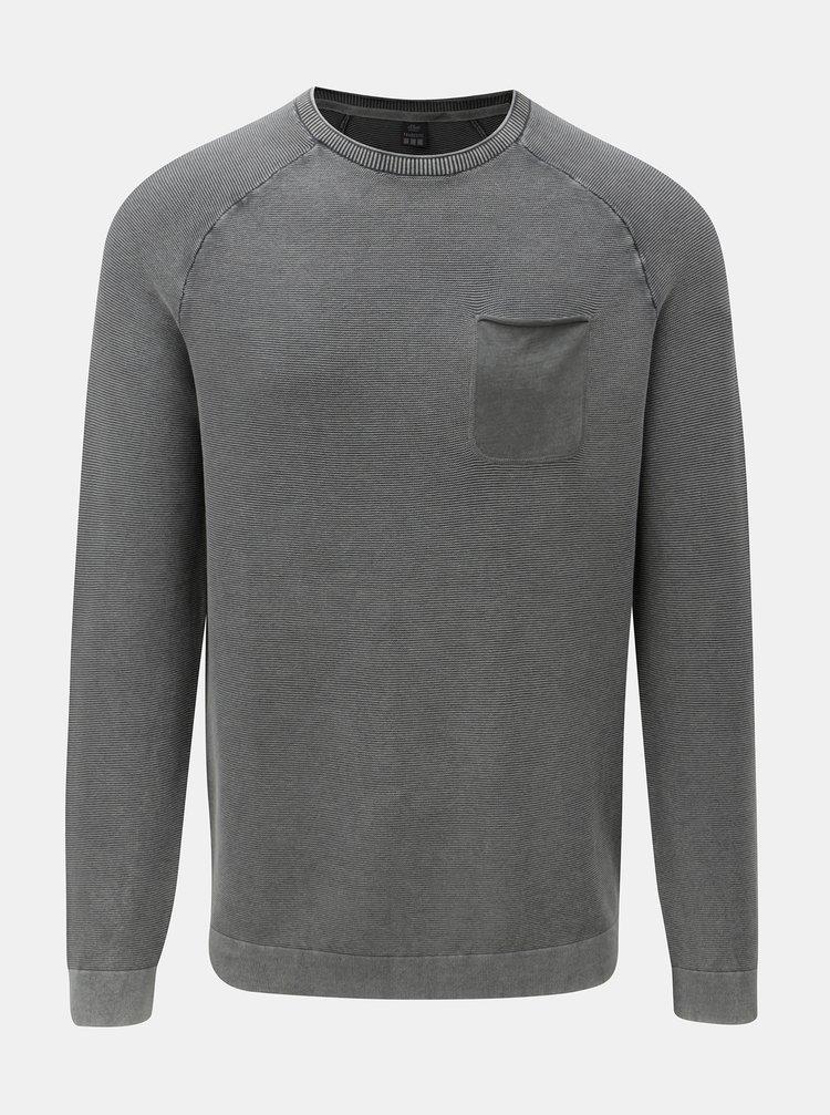 Šedý pánský žíhaný lehký svetr s kapsou s.Oliver