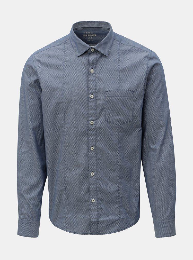 Camasa barbateasca slim fit albastra cu model s.Oliver