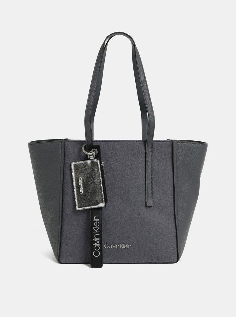 Šedá kabelka s příměsí vlny Calvin Klein Jeans