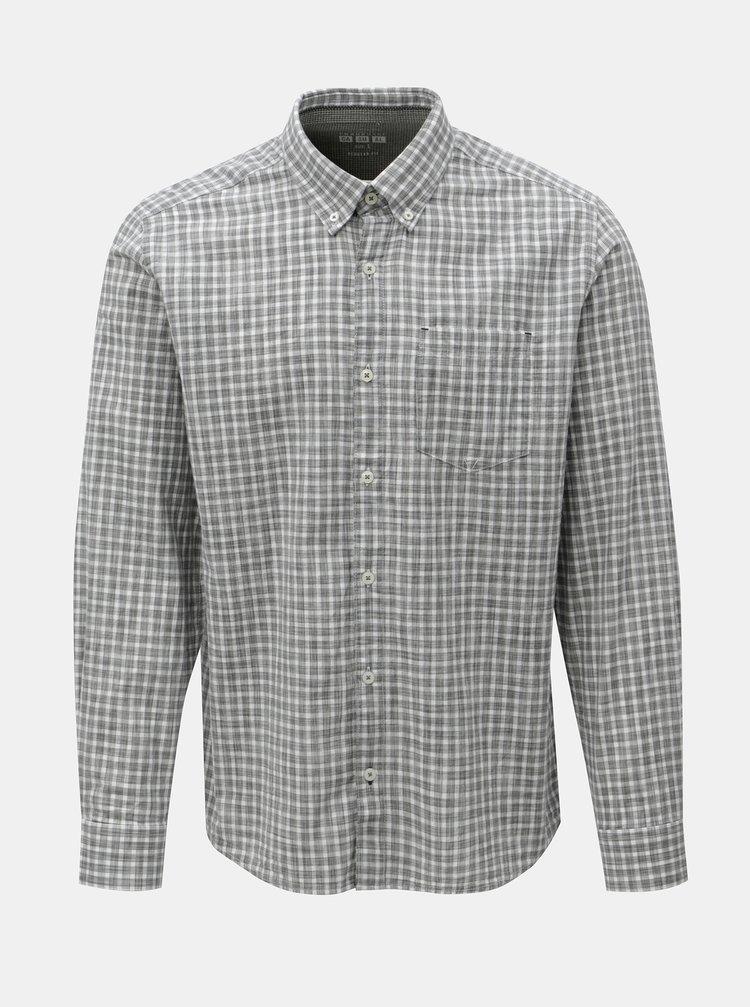 Bílo-šedá pánská kostkovaná regular fit košile s.Oliver