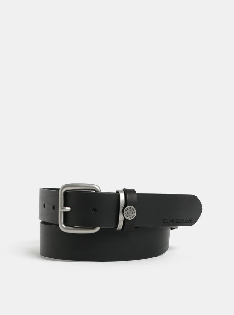 Čierny pánsky kožený opasok Calvin Klein Jeans