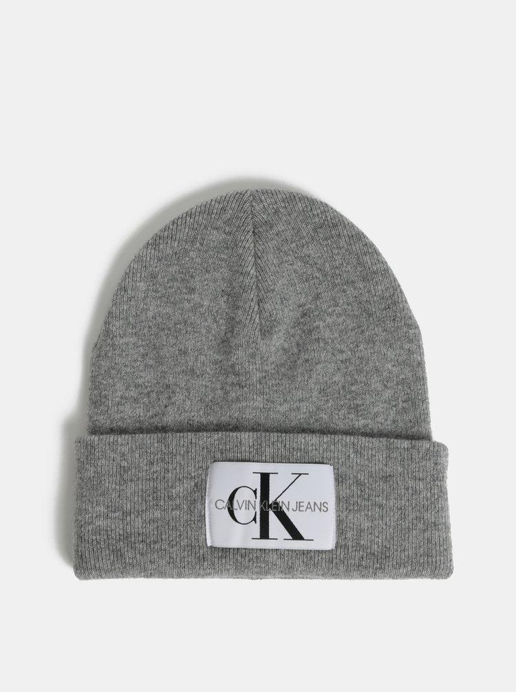 4db0a6f16 ... Sivá dámska melírovaná čiapka s prímesou vlny a kašmíru Calvin Klein  Jeans