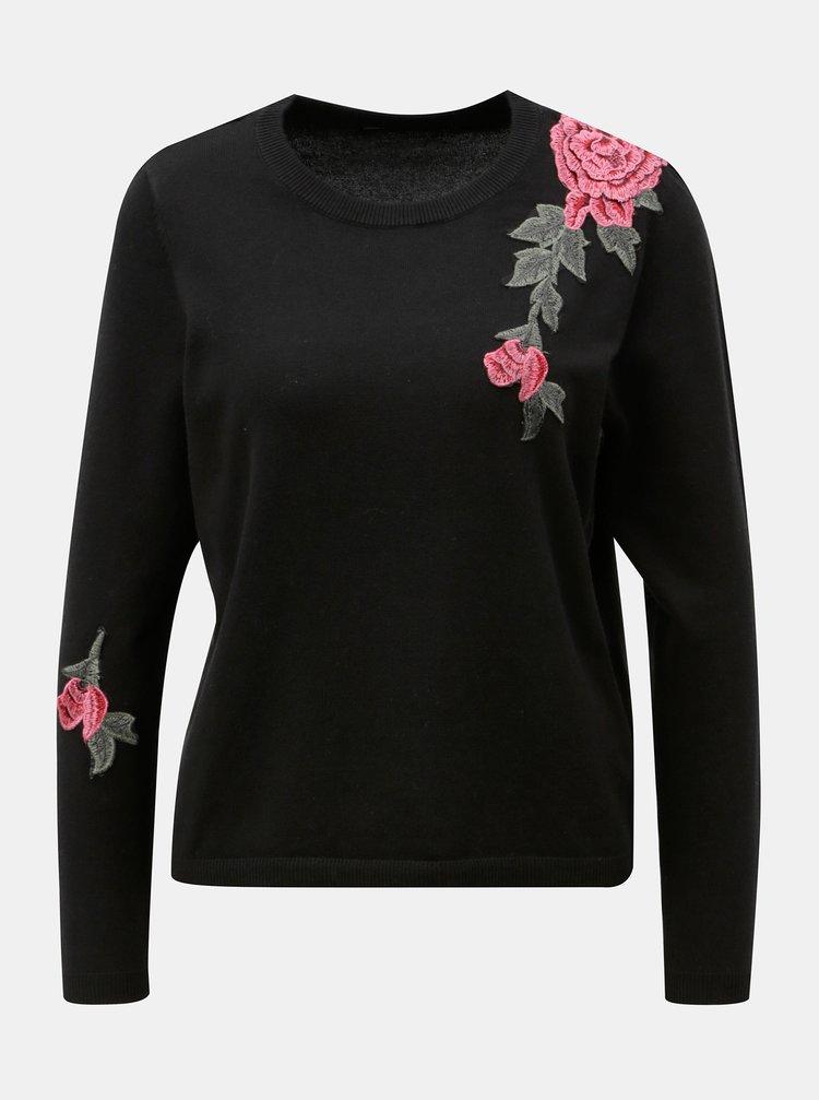 Černý svetr s květovanou nášivkou ONLY Florida
