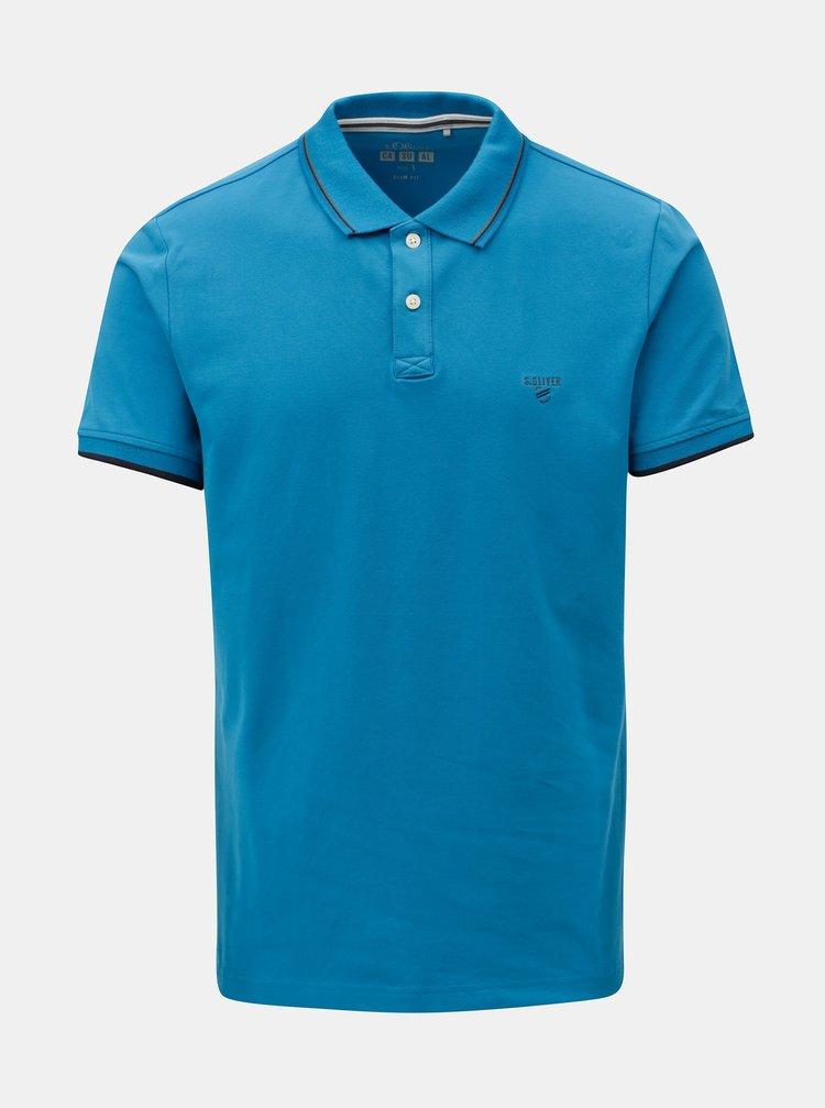 Modré pánské slim fit polo tričko s.Oliver