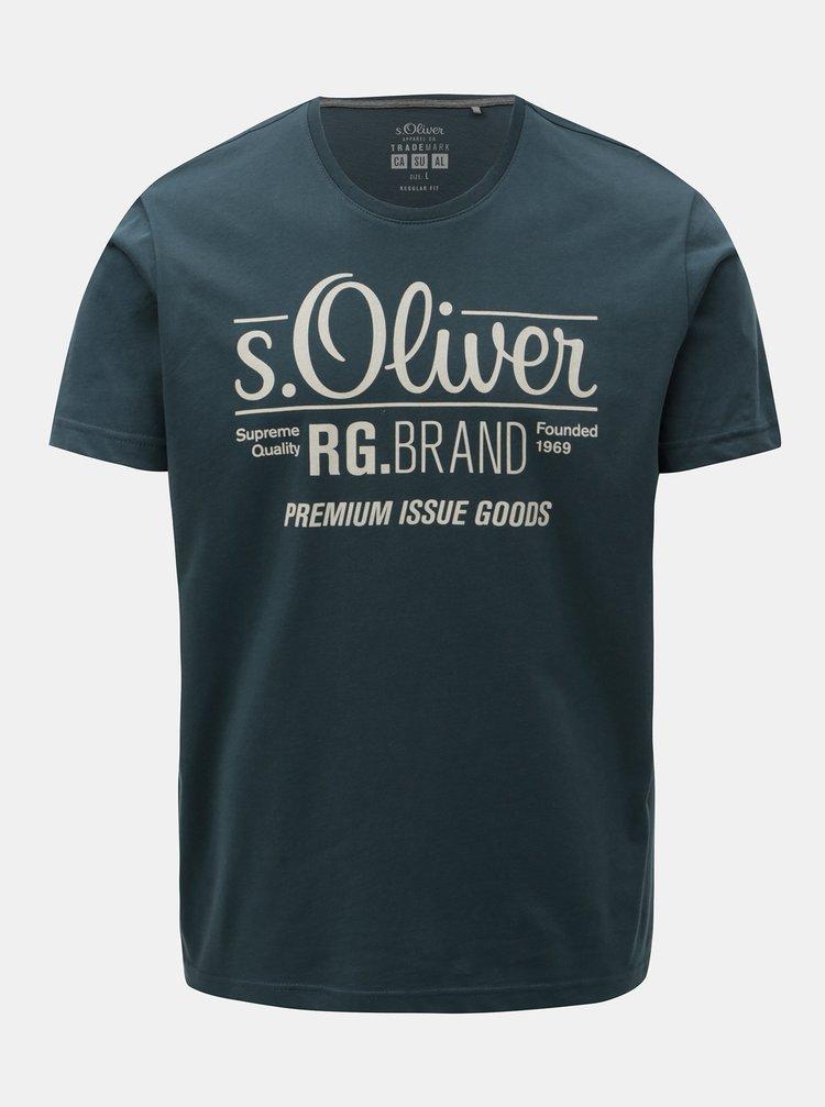 Tricou barbatesc regular fit verde-albastru cu print s.Oliver