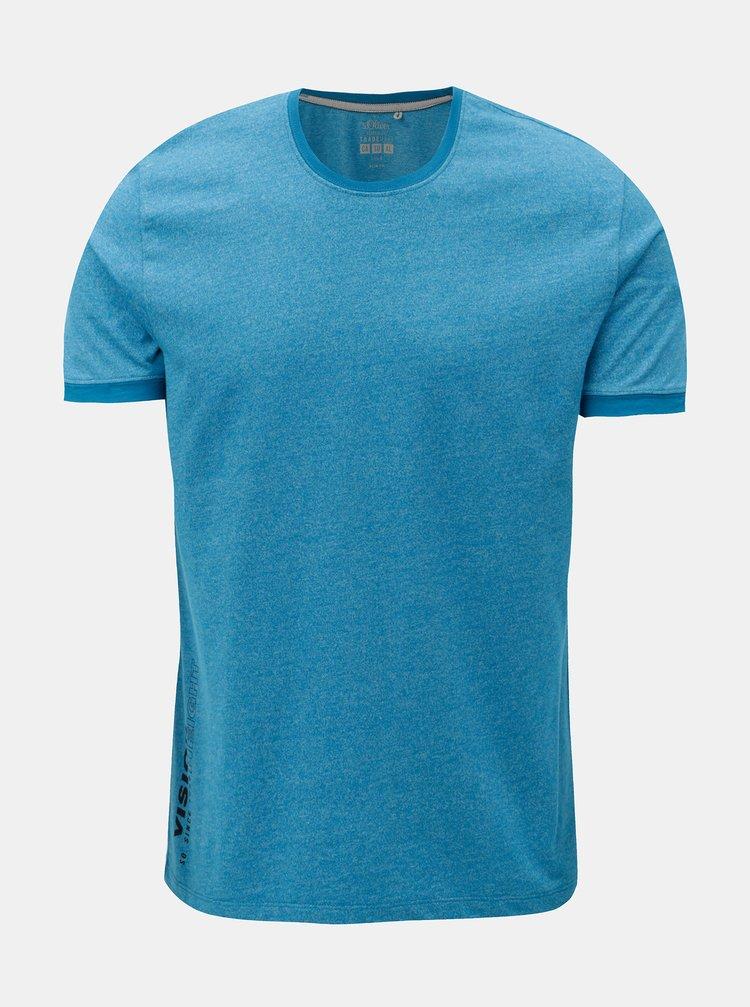 Tricou barbatesc slim fit albastru melanj s.Oliver