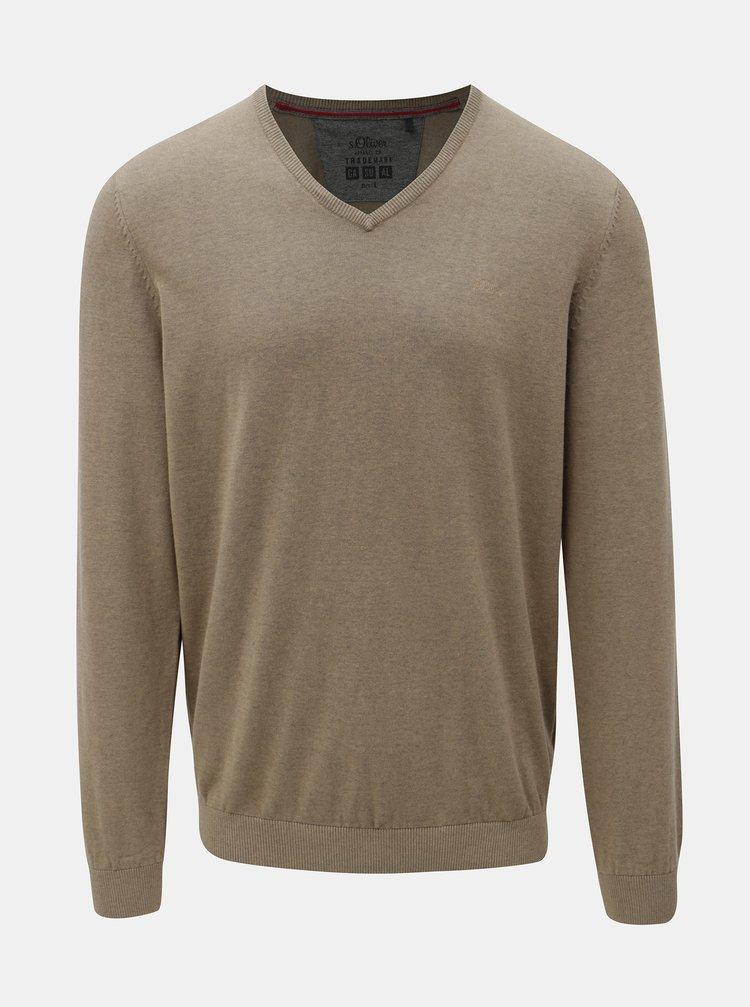 Béžový pánský lehký svetr s véčkovým výstřihem s.Oliver