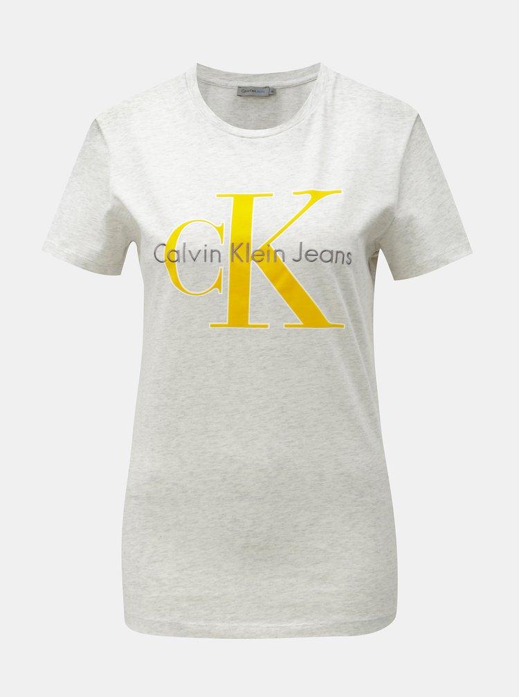 Šedé dámské žíhané tričko s potiskem a výšivkou Calvin Klein Jeans