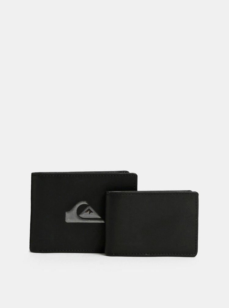 Portofel barbatesc negru din piele cu portofel pentru documente Quiksilver