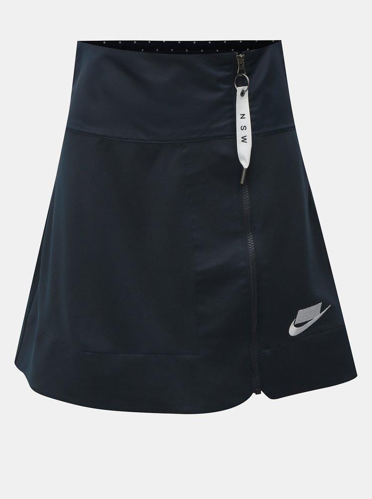 Tmavě modrá sukně na zip s gumou v zadním díle Nike