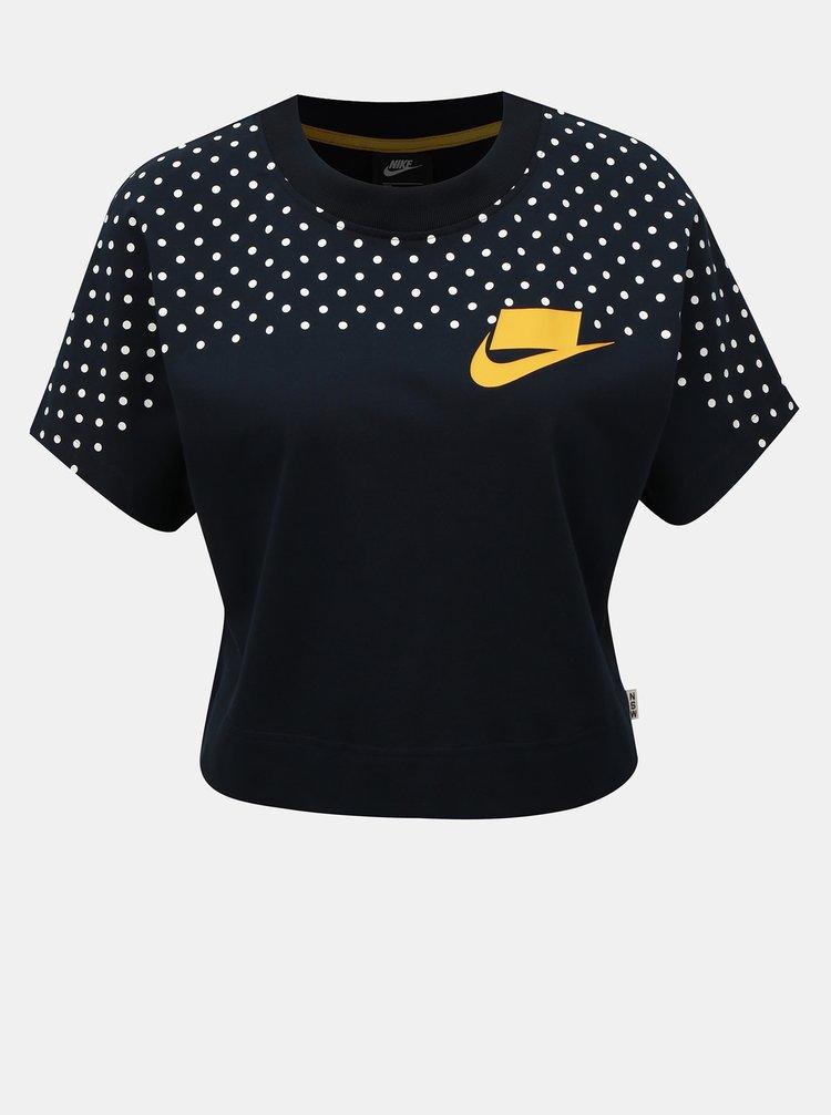 Tmavě modrý puntíkovaný crop top Nike