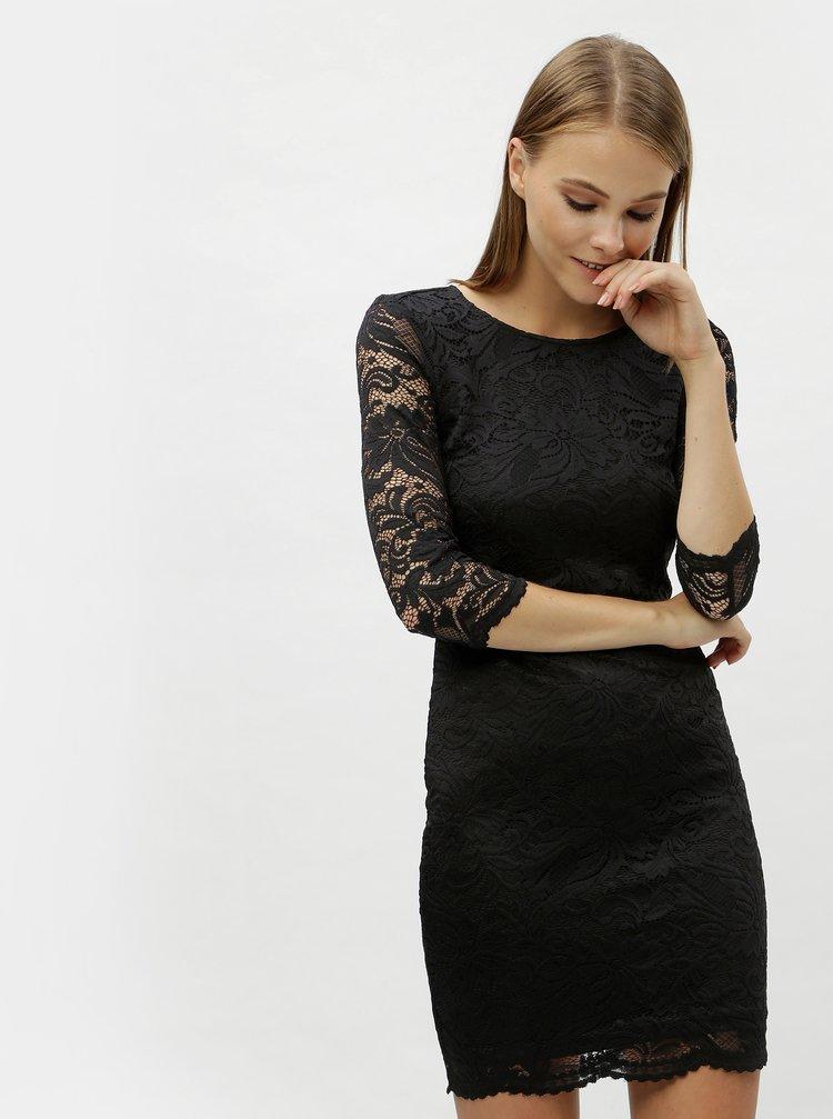 Černé krajkové šaty s průstřihem na zádech VERO MODA Sandra