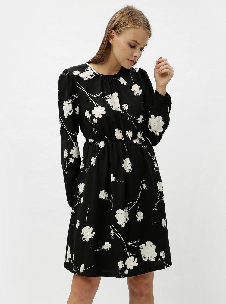 Čierne kvetované šaty s dlhým rukávom VERO MODA Zitta