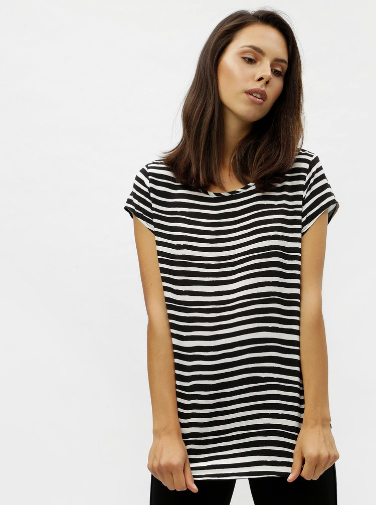 Bílo-černé pruhované tričko s krátkým rukávem VERO MODA Boca
