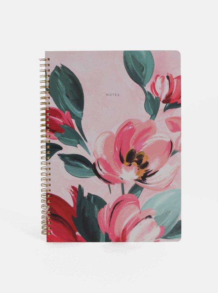 Růžový květovaný zápisník Cath Kidston A4
