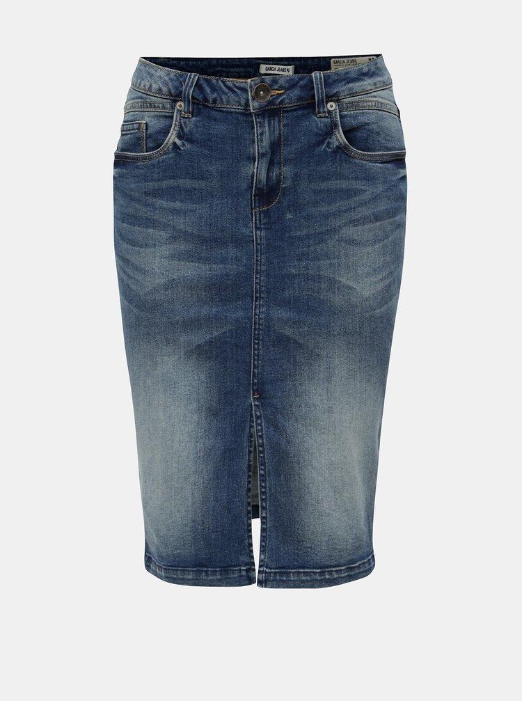 Modrá džínová sukně s rozparkem Garcia Jeans