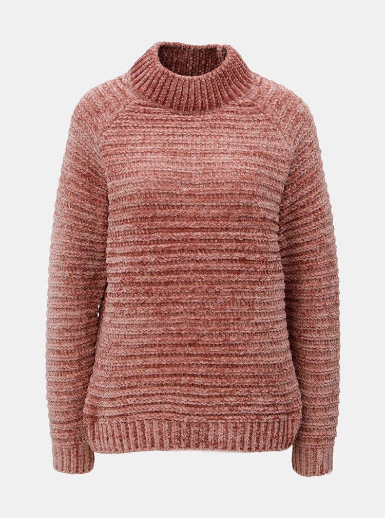 Starorůžový žíhaný svetr se stojáčkem VERO MODA