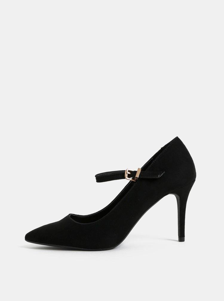 Pantofi negri din textil cu aspect de piele intoarsa si catarama Dorothy Perkins Elisha