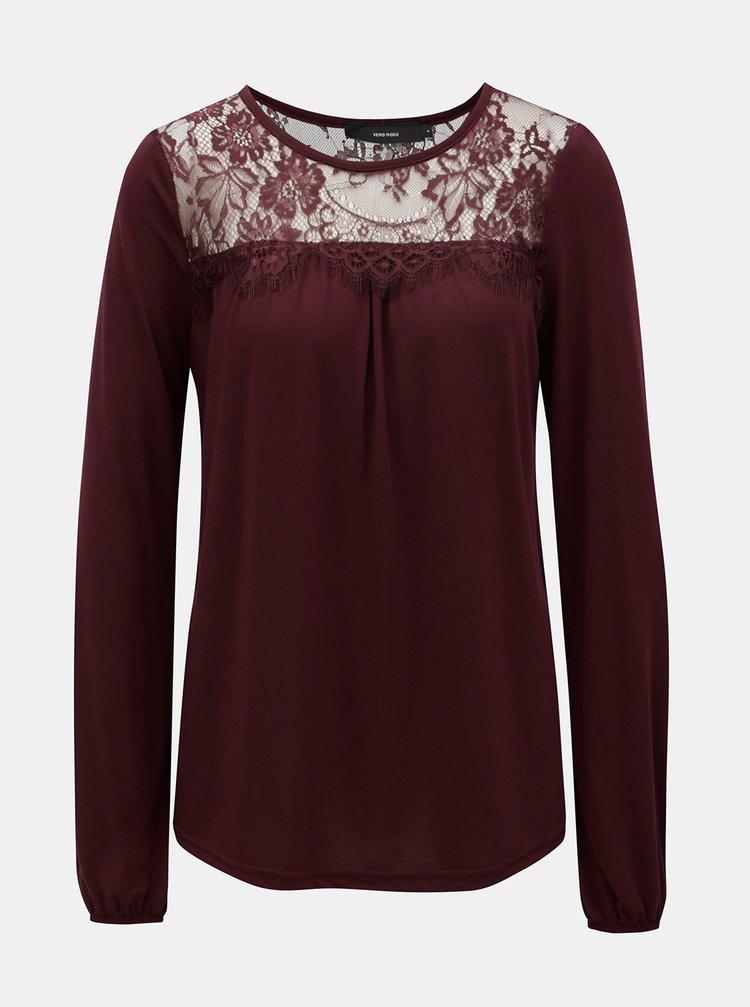 Vínové tričko s krajkovým sedlem VERO MODA