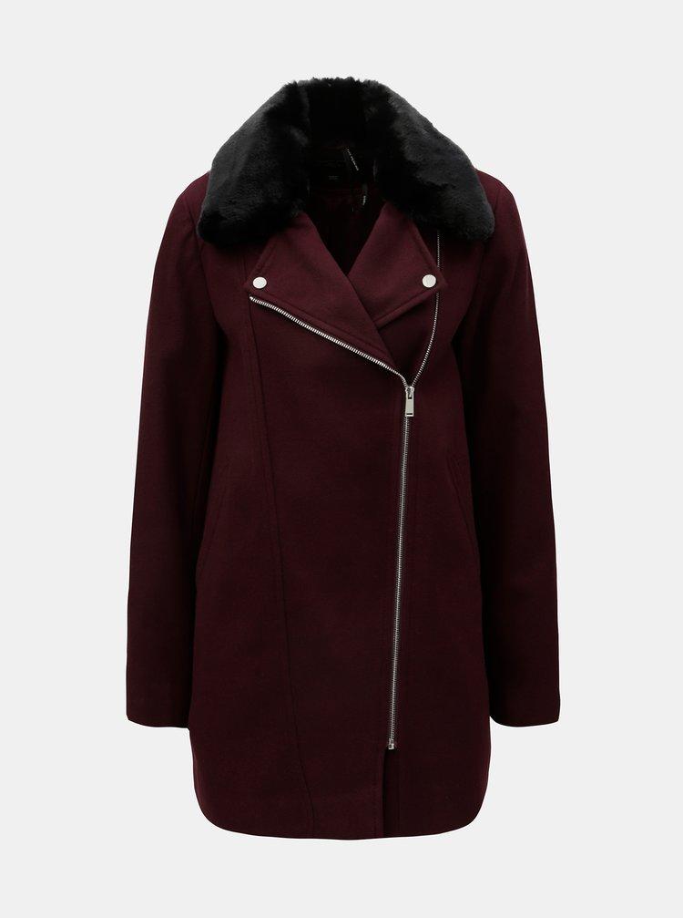 Vínový kabát s kožíškem Dorothy Perkins