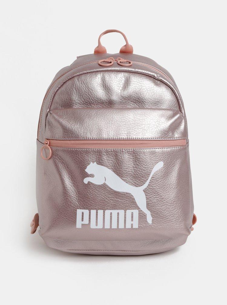 Světle růžový metalický batoh s potiskem Puma 10 l