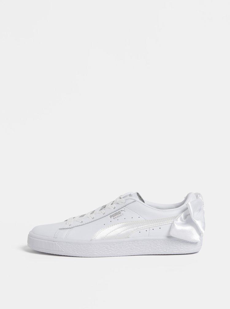 Biele dámske kožené tenisky s mašľou Puma Basket