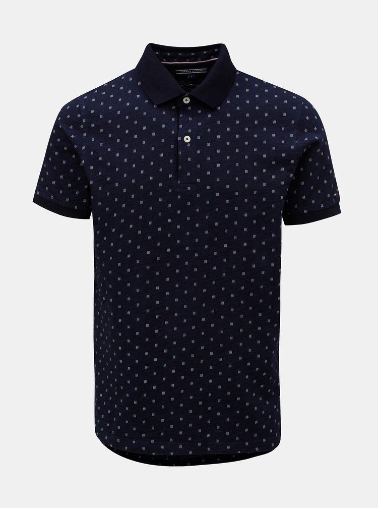 Tmavě modré pánské vzorované slim fit polo tričko Tommy Hilfiger